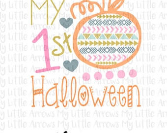 My 1st halloween SVG, DXF, EPS, png Files for Cutting Machines Cameo or Cricut - first halloween svg - baby girl svg - pumpkin svg - aztec
