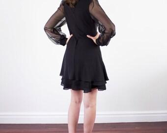 Vintage 1960s Black Party Dress / Ruffle Skirt / Mini Dress / Sheer Sleeves / XS/S