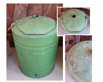 Large Green Metal Industrial Rustic Oil or Gas Can. Industrial oil can, garden decor, oil can with handle, gas can, props, kerosene can