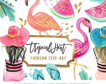 Tropical Clip Art | Hand Drawn Fashion Girl Hat Flamingo Watermelon Beach Graphics | Cards, Planner Stickers  | Digital Printable Cliparts