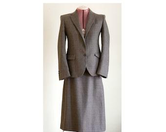 Brown gray tweed skirt suit
