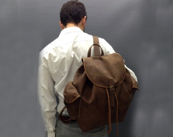 Sale! Men's leather backpack Brown Leather backpack Distressed Men Leather Rucksack Laptop man backpack Leather man backpack