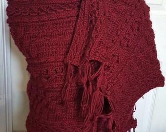 Handmade Crocheted Burgundy Wrap