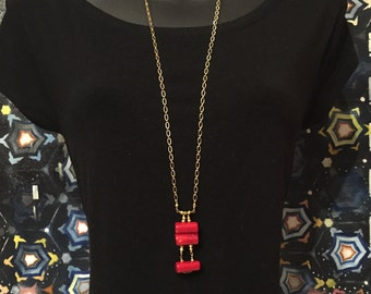 Red Coral and Gold Chain