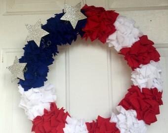 Patriotic Wreath, Fourth of July Wreath, American Flag Wreath