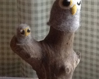 Felted and driftwood sculpture