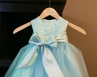 Tiffany Flower Girl Dress Aqua Blue