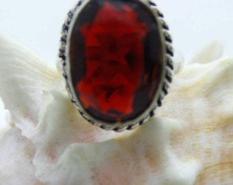 SALE Garnet Sterling Silver ring, size 6.75