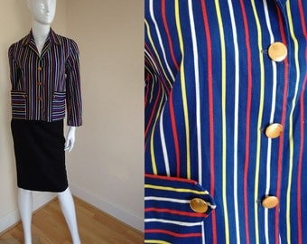 Lovely 1970's Vintage Light Cotton Stripe Crop Jacket in Electric Royal Blue White Red and Yellow