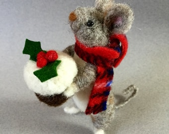 Felted mouse, needle felted animal, felted animals, Christmas mouse, felt mouse, needle felted mouse, felted mice, felted wool animals,