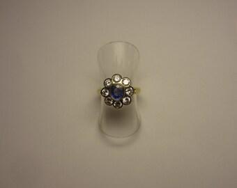 saphire/diamond cluster 18ct yellow gold ring