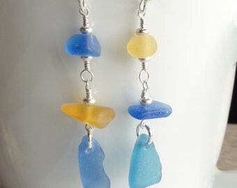 Scottish Sea Glass Earrings - SEA and SUN - Yellow and Cobalt Blue - Sterling Silver