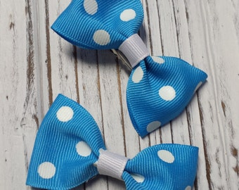 Polka Dot Hair Bows - Choose Your Color - Small Hair Bows, Childrens Bows, Adult Bows - Set of 2