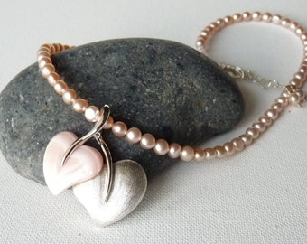 SALE, Sterling Silver Heart Leaf Pendant Pearl Necklace, Handmade Pink Pearl Necklace, Leaf Necklace, Romantic Heart Necklace, Hamcrafted