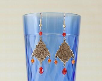 Vintage Mediterranean Earrings in Antique Brass with Genuine Swarovski Crystals