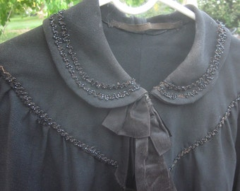 Black Beaded Victorian Capelet