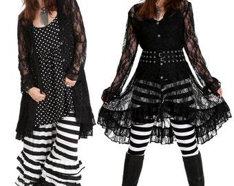 Black Lace Vintage Style Pirate Jacket Coat/Rocker Jacket/Grunge Jacket