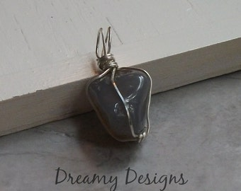 Blue/Grey and Brown Stone - Wire Wrapped Polished Stone Pendant