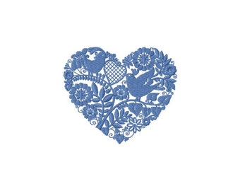 Embroidery of a heart for machine embroidery 4 x 4 format