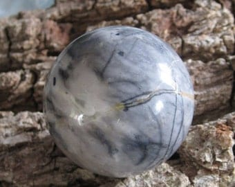 Picture Jasper Sphere with free Stand; Crystal Sphere; Crystal Healing; New Age; Spiritual; Pagan; Winter Forest; Planet