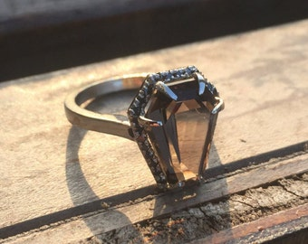 Custom Coffin Ring With Halo