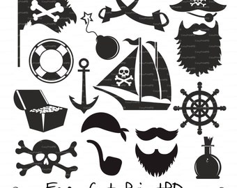 Pirate (svg, eps, dxf, ai, jpg, png) vinyl decal sword gun skull bones anchored boat mustache digital Clip Art Cut for Silhouette Cricut