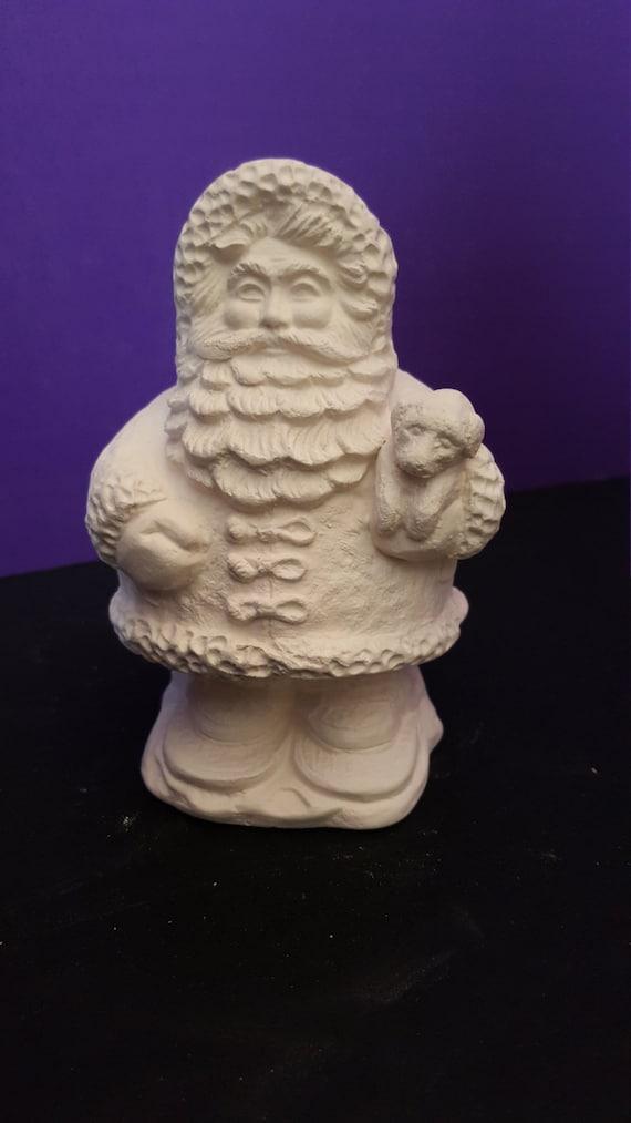 Handmade Ready To Paint Ceramic Bisque Gum Drop Santa Claus Holding a ...