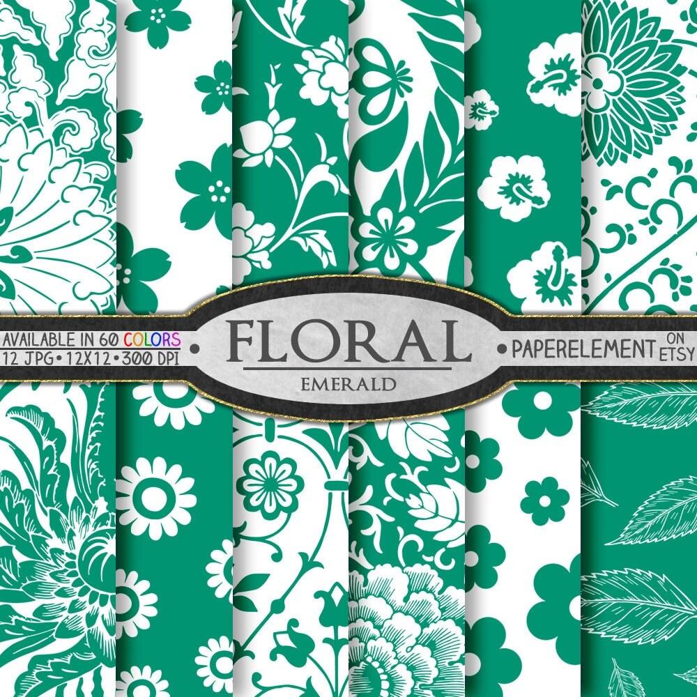 Scrapbook paper download - Emerald Green Digital Paper Flower Green Scrapbook Paper Green Irish Plant Printables Download With Spring Flowers Digital Floral Images