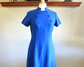 Vintage Bouclé Dress, Electric Blue with Buttons, Nubby Fabric, Mandarin Collar, Size Medium, 1950s - 1960s