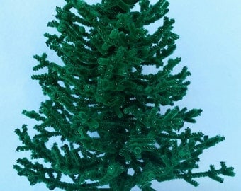 Miniature Chenille Christmas Tree Dollhouse Scale 7.5 inch