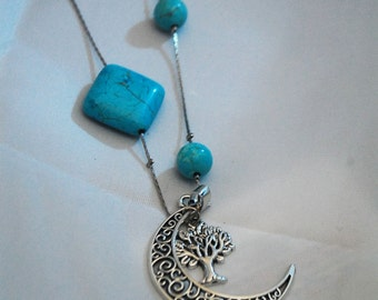 Turquoise Tree of Life Moon Celtic Necklace