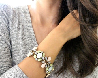 Pink Bracelet, Pastel Bracelet, Chunky Bracelet, Statement Bracelet, Soft Pink, Green, Blue, Pastels, Flower, For Her, Fashion Jewelry
