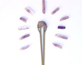 Amethyst Hair Stick || Hair stick, gypsy, bohemian, hair accessories, festival