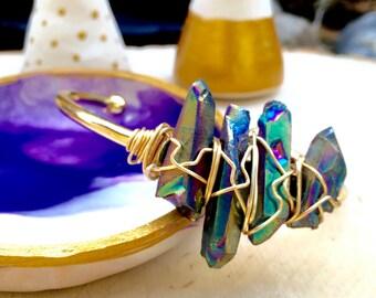 Rainbow mystic quartz crystal cluster cuff, bohemian, gypsy, festival, wire wrapped