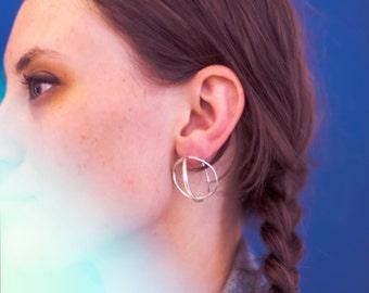 Minimalist Spheric Earrings. One wire. Free delivery. Handmade.