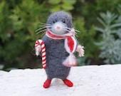 Cute mole, Needle felt mole, Christmas mole, Needle felt animal, Christmas decor, Needle felt miniature, Home decor