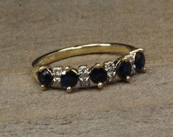 Estate, 14K Yellow Gold Diamond and Sapphire Ring