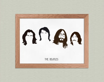 The Beatles - John Lennon, Paul McCartney, George Harrison, Ringo Starr Poster - Minimalist Art Print - Music Art