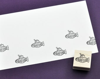 Cute Steampunk Submarine Rubber Stamp, Hand Carved Stamps
