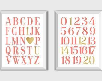 ABC And 123 Art Alphabet And Numbers Printable Coral And Gold Nursery Wall Art Baby Girl Nursery Decor Coral Alphabet Set of 2 Prints