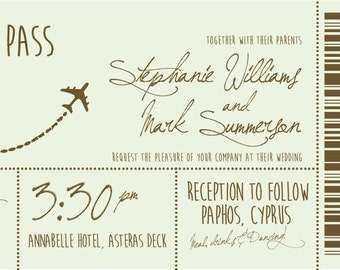 SAMPLE Vintage Pastel Destination Boarding Pass Ticket Wedding Invitations!