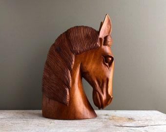 Vintage Carved Wood Horse Head, Wooden Horse Sculpture, Mid Century Sculpture