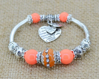 Heart Charm Bracelet - Orange beads bracelet -Glass Beads Bracelets- Spring bracelet
