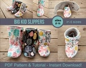 Big Kid Slipper Pattern - pdf Sewing Pattern for Big Kids' Slippers - Boot Pattern - Crafts for Kids - DIY House Slippers