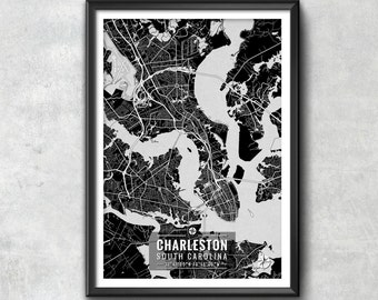 Charleston South Carolina Map with Coordinates, Charleston Wall Art, Charleston Map, Map Art, Map Print, Charleston Print, Charleston Art