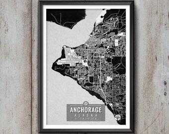 ANCHORAGE Alaska Map with Coordinates, Anchorage Map, Map Art, Map Print, Anchorage Print, Anchorage Wall Art, Anchorage Gift, Map, Alaska