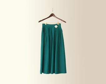 Vintage 70s High Waisted Bohemian Pleated Teal Skirt by String Bean Size 24