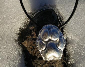 Pewter hyena paw pendant