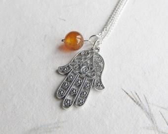 Hamsa necklace, yoga necklace, hamsa jewelry