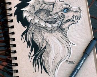 InkTober Dragon- Original